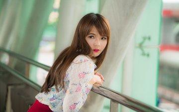 девушка, взгляд, юбка, волосы, азиатка, блузка, боке