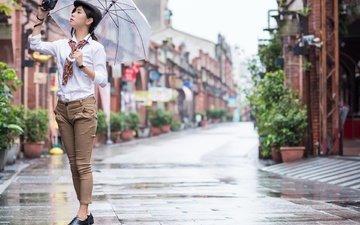 стиль, девушка, настроение, взгляд, улица, зонт, азиатка