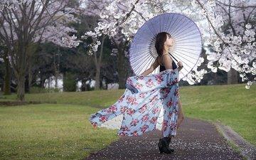 стиль, девушка, настроение, взгляд, весна, зонт, азиатка