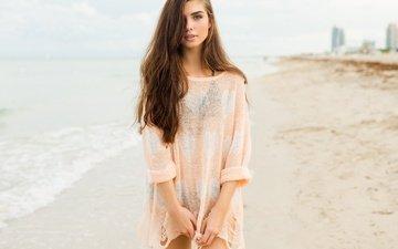 девушка, море, пляж, взгляд, модель, волосы, лицо