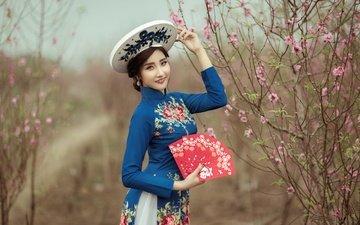 стиль, девушка, настроение, взгляд, азиатка, веер