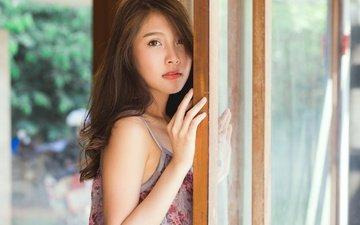 девушка, взгляд, волосы, лицо, стекло, азиатка