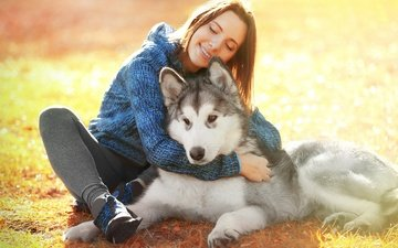 girl, animals, smile, look, dog, hair, husky, brown hair