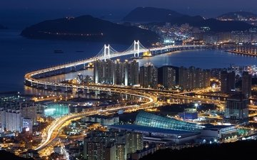 road, night, lights, sea, bridge, the view from the top, the city, south korea, pusan