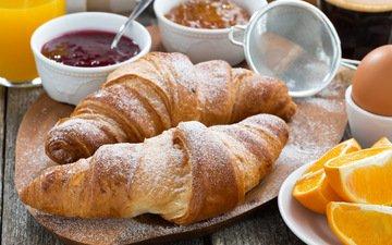 джем, апельсин, завтрак, выпечка, яйцо, круассаны