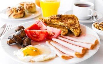 еда, грибы, хлеб, завтрак, тарелка, колбаса, помидоры, яичница