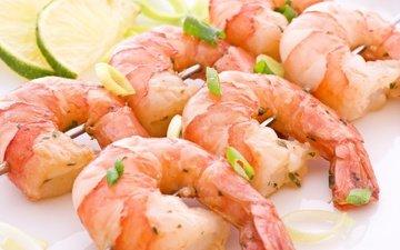 зелень, еда, лайм, морепродукты, креветки