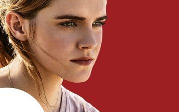 девушка, взгляд, сфера, волосы, лицо, актриса, эмма уотсон, постер, the circle