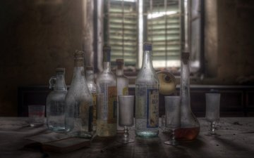 background, table, window, glass, glasses, bottle