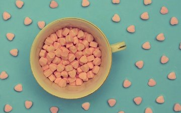 background, candy, mug, a lot, cup, hearts