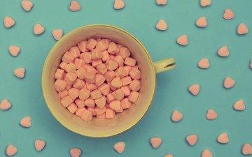 фон, конфеты, кружка, много, чашка, сердечки, конфетки