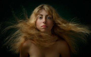 фон, портрет, взгляд, волосы