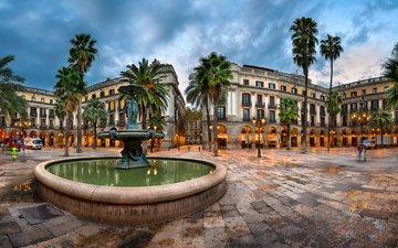 фонари, огни, вечер, пальмы, фонтан, дворец, испания, площадь, барселона, каталония
