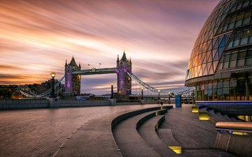 фонари, рассвет, лондон, англия, набережная, тауэрский мост