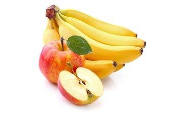 фрукты, яблоки, белый фон, бананы