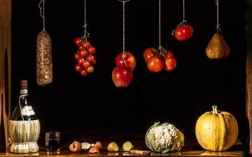 фрукты, яблоки, лимон, вино, овощи, яйца, стакан, бутылка, помидоры, тыква, натюрморт, груша, капуста, салями