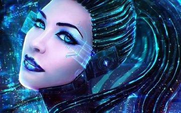 глаза, девушка, фантастика, взгляд, робот, губы, лицо, киборг, киберпанк