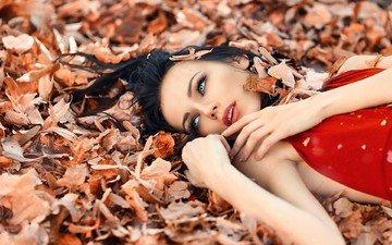 глаза, листья, девушка, взгляд, волосы, макияж