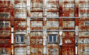 the city, house, windows, rust