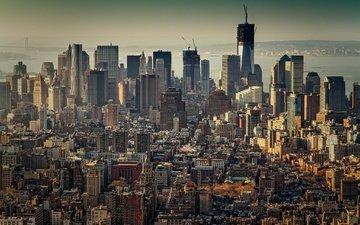 город, небоскребы, дома, сша, нью-йорк, манхэттен