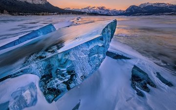 горы, берег, море, лёд, льдина