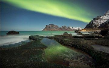 горы, море, побережье, северное сияние, норвегия, лофотенские острова