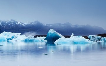 горы, пейзаж, море, лёд, исландия, ледник, ледниковая лагуна