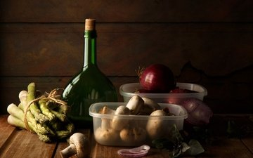 грибы, лук, масло, бутылка, натюрморт, спаржа