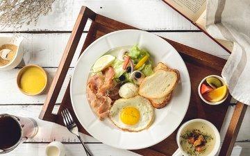 хлеб, овощи, завтрак, яичница