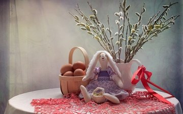 toy, eggs, napkin, hare, verba, palm sunday