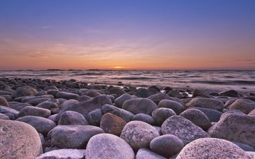 the sky, stones, sunset, sea, coast, finland