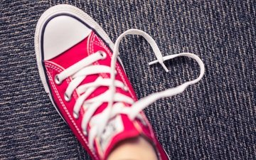 sneakers, heart, leg, shoes, laces