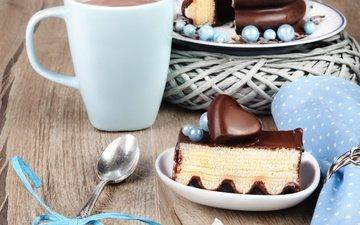 напиток, кофе, сердце, чашка, шоколад, сладкое, торт, десерт, ложка, пирожное, глазурь.