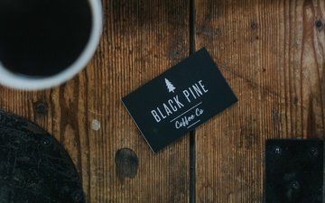 coffee, cup, card, black pine