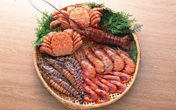 крабы, суши, морепродукты, креветки, омар