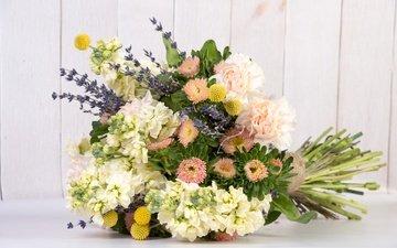 цветы, лаванда, букет, гвоздика, астра, левкой