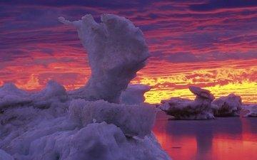 лёд, залив, зарево, канада, гудзон, манитоба