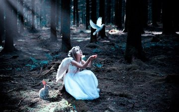 forest, flight, wings, children, girl, bird, hair, face, dove, hare
