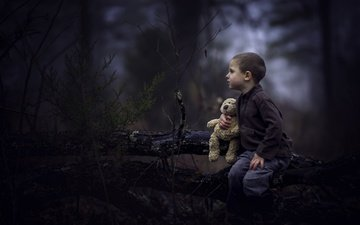 forest, children, bear, toy, profile, face, boy