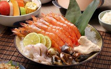 лимон, овощи, морепродукты, креветки, кальмары, моллюски