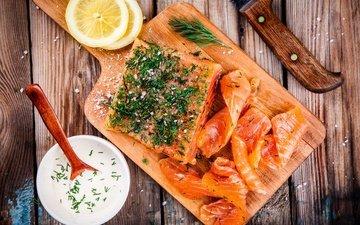 зелень, лимон, рыба, соус, морепродукты, специи