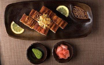 лимон, тарелки, рыба, соус, морепродукты, специи, васаби, имбирь