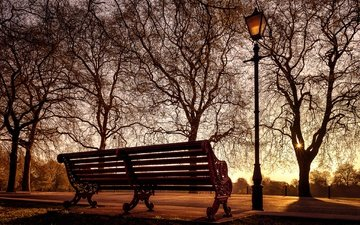 london, england, lantern, bench, battersea park