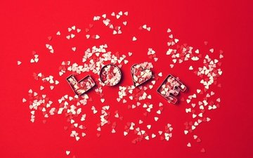 love, hearts, red background, valentine's day, confetti