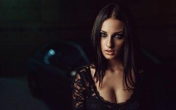 девушка, машина, портрет, взгляд, модель, волосы, лицо, декольте, георгий чернядьев, алла бергер