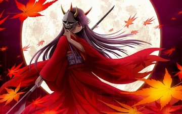 маска, ветер, рога, кимоно, кленовые листья, копье, полнолуние, длинные волосы, красные глаза
