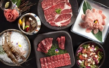 мясо, салат, креветки, ассорти, бекон