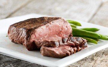 мясо, тарелка, фасоль, стейк, стручки