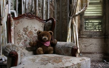 style, interior, bear, toy, chair, window