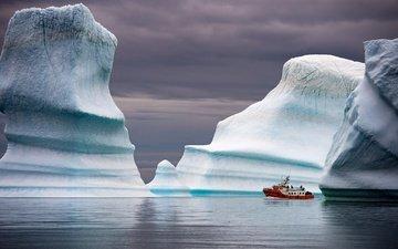 sea, ship, iceberg, greenland